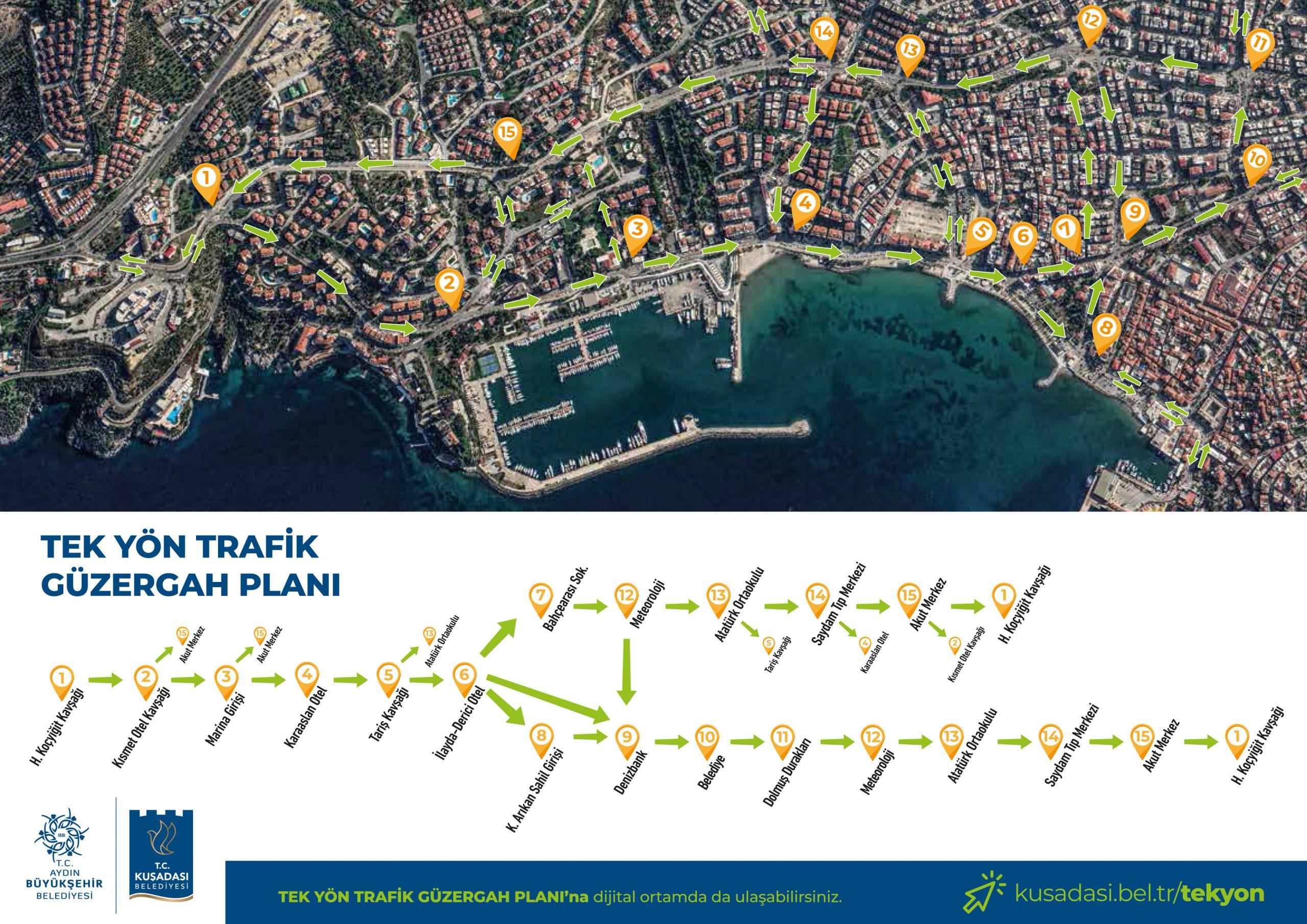 kuşadası haritasında tek yön yapılacak olan yollar belirtilmiş